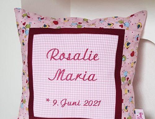 Nameskissen zur Geburt für Rosalie Maria