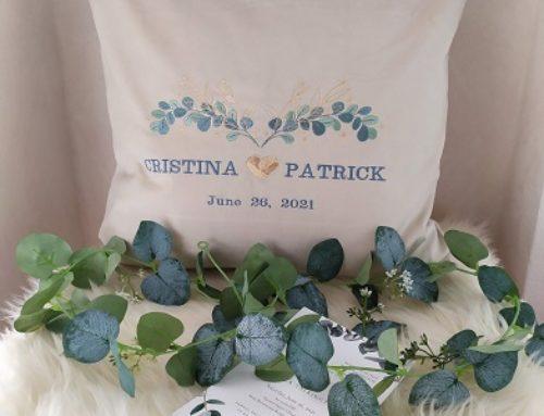 Hochzeitskissen mit Eukalyptus