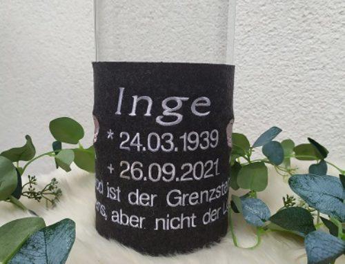 Trauerkerze für Inge